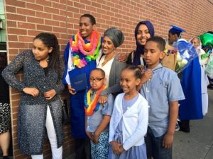 Somalian family of 7 attending a graduation for a child